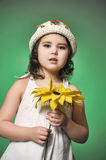 Girl in a hat in the studio on a green background with sunflower Stock Images