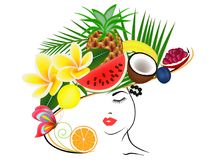 A girl in a hat with summer fruits on her head. A girl in a hat with summer fruits on her head, beautiful illustration vector illustration