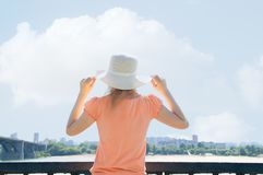 Girl in hat in the summer stock photo