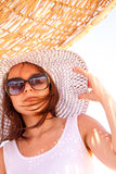 Girl in a hat in summer Royalty Free Stock Photography