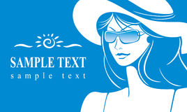 Girl in a hat and sunglasses Stock Photo