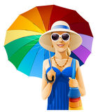 Girl in hat with umbrella. Illustration isolated on white background Royalty Free Stock Photography