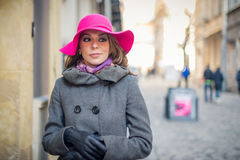 The girl with the hat Royalty Free Stock Photo