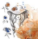 Girl in a hat on a watercolor background Stock Photos