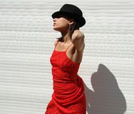 The girl  from Havana. The girl in the red cloth Royalty Free Stock Photos
