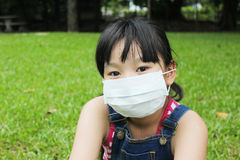 Girl have a fever and wear protection mask. Royalty Free Stock Image