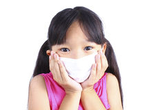 Girl have a fever and wear protection mask Royalty Free Stock Photo