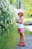 Girl have fun with flowers Royalty Free Stock Photography