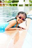 Girl have fun in the pool Royalty Free Stock Photos