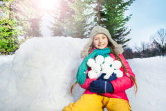 Girl have fun with snowball fight winter outdoor Royalty Free Stock Photo