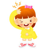 Girl is have a headache. Education and life Character Design ser Royalty Free Stock Photo