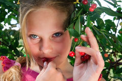 Girl have a taste red cherry. Nice young girl have a taste red cherry berries Royalty Free Stock Photo