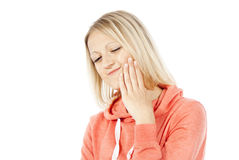 Girl have a toothache Royalty Free Stock Photography