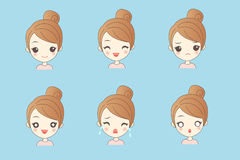 Girl  have variety of expressionsl Royalty Free Stock Photography