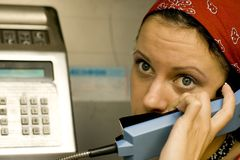Girl Having A Call On A Telephone Royalty Free Stock Image