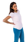 Girl having a back pain Royalty Free Stock Images