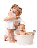 Girl having bath. Cute baby girl having bath. Isolated over white Stock Images