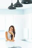 Girl having breakfast. Happiness, wellness concept. royalty free stock photo