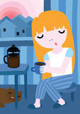 Girl Having Early Morning Coffee Royalty Free Stock Image