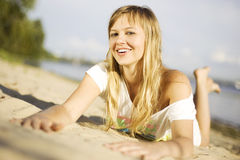 Girl having fun on the beach Royalty Free Stock Image