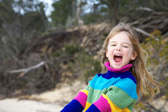 Girl having fun at beach Stock Photography