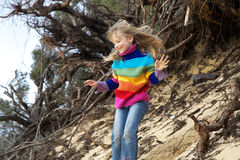 Girl having fun at beach Royalty Free Stock Photography