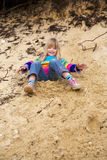 Girl having fun at beach Royalty Free Stock Images