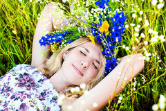 Girl having fun on the beautiful summer nature royalty free stock images