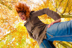 Girl having fun in forest. Royalty Free Stock Photos