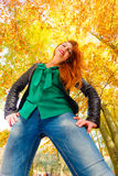 Girl having fun in forest. Royalty Free Stock Image