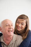 Girl having fun with her grandfather Royalty Free Stock Photo