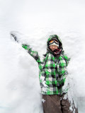 Girl having fun playing snow Royalty Free Stock Photo