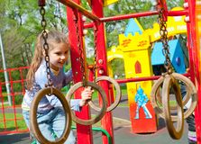 Girl having fun in playground Royalty Free Stock Photography