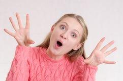 Girl having fun scares Royalty Free Stock Images