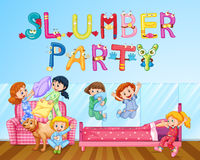 Girl having fun at slumber party in bedroom Royalty Free Stock Photography