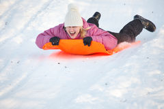 Girl having fun in snow Royalty Free Stock Photo