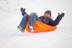 Girl having fun in snow Stock Photography