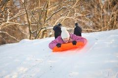 Girl having fun in snow Royalty Free Stock Photos