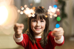 Girl Having Fun with Sparkler royalty free stock photography