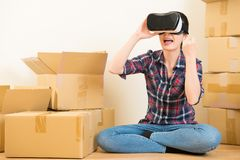 Girl having fun with VR headset Stock Images