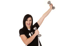 Girl having fun with weights Stock Image