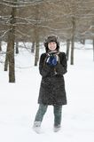 Girl having fun in winter Royalty Free Stock Photography