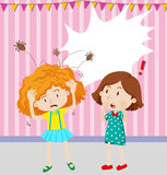 Girl having head lice stock illustration