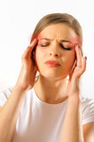 Girl having a headache Stock Photo