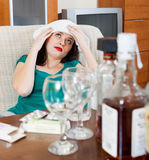 Girl having headache Stock Photos