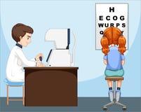 Girl having her eyes checked vector illustration