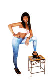 Girl Having Leg On Bench. Royalty Free Stock Image