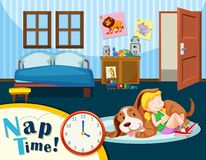A girl having a nap time vector illustration