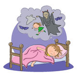 Girl having nightmare whilst sleeping. Hand drawn picture of child dreaming of a nightmare, illustrated in a loose style. Vector eps available Stock Photos