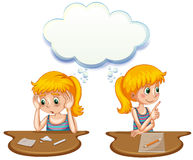 Girl having positive and negative thoughts Stock Image